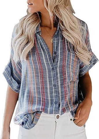 Blusa con Botones y Cuello en V para Mujer Rayas Camisa de Manga Corta Estampada enrollada Túnica Tops: Amazon.es: Ropa y accesorios