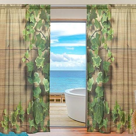 Amazon De Xianghefu Vorhang Aus Tull Aus Efeu Voile Fur Schlafzimmer 139 7 X 19 8 Cm 2 Paneele