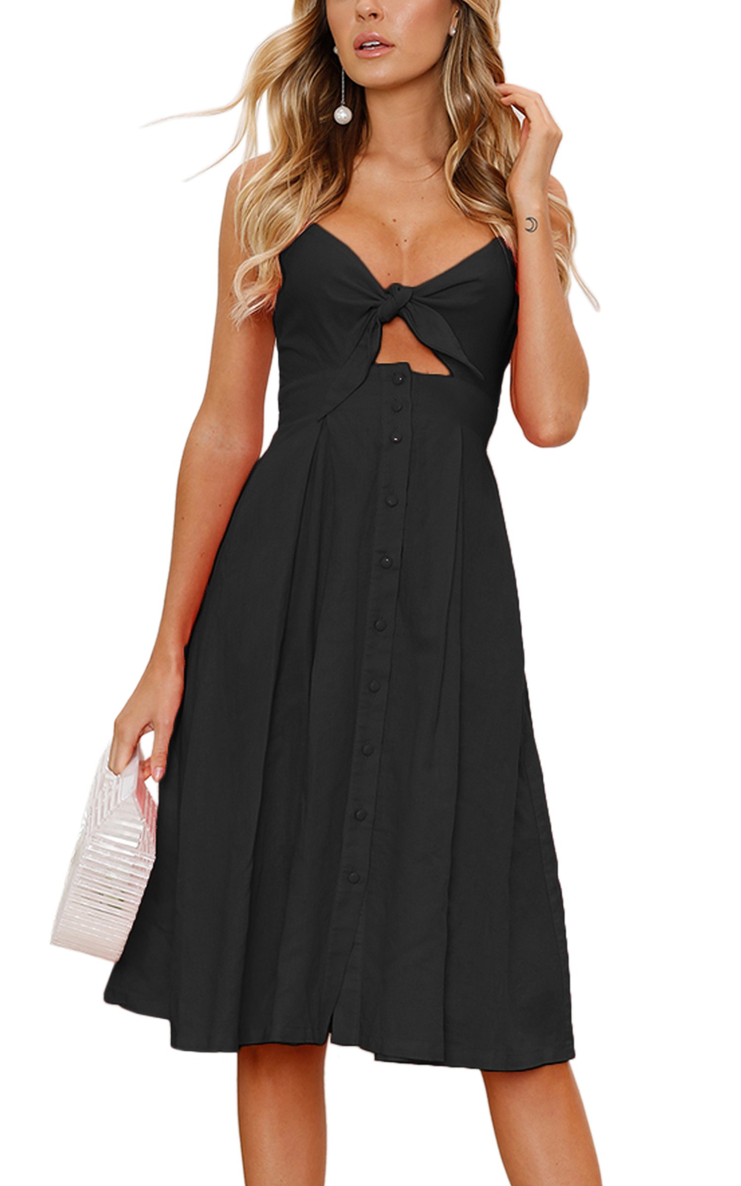 ECOWISH Womens Dresses Summer Tie Front V-Neck Spaghetti Strap Button Down A-Line Backless Swing Midi Dress Black L