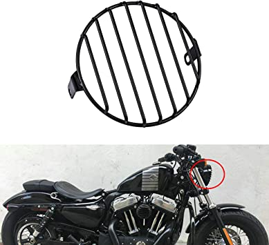 """6.3/"""" Black Vintage Metal Headlight Cover Grill Motorcycle Fit for Harley Suzuki"""