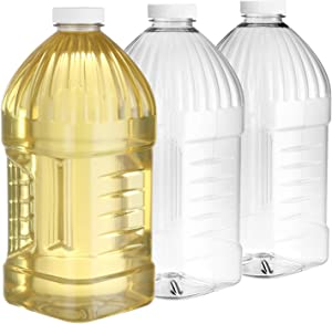 Pack of 3-55 Oz Square Plastic Bottles – Empty Refillable Plastic Bottles with Airtight Lids - Wide Mouth Bottles with Grip for Easy Holding - Food Safe BPA Free Bottle – Dishwasher Safe