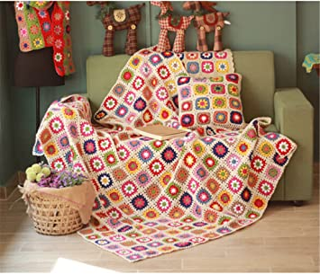 Desconocido Countryside - Manta de Lana nórdica Tejida a Mano para Crochet, Alfombra de Punto