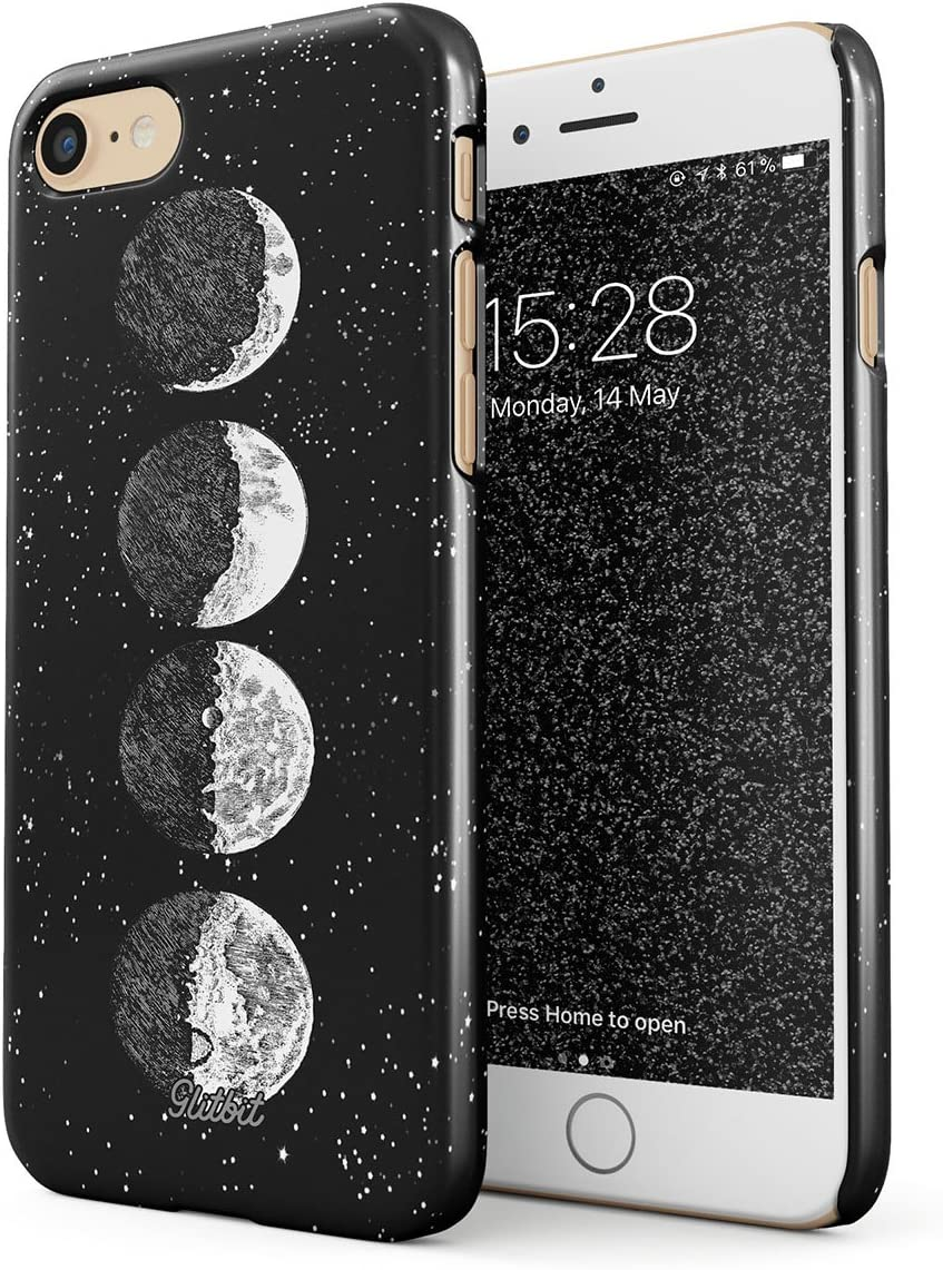 Glitbit Compatible with iPhone 7/8 / SE 2020 Case Moon Phases Eclipse Stars Cosmos Galaxy Universe Cosmic Lunar Luna Tumblr Thin Design Durable Hard Shell Plastic Protective Case Cover