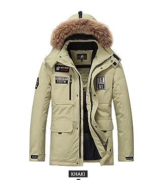 NJJSR Mens Down Coat Casual Hombres Invierno Duck Down Jacket Plus Size 3XL Negro Rojo sólido Hombres Abrigos Abajo: Amazon.es: Deportes y aire libre