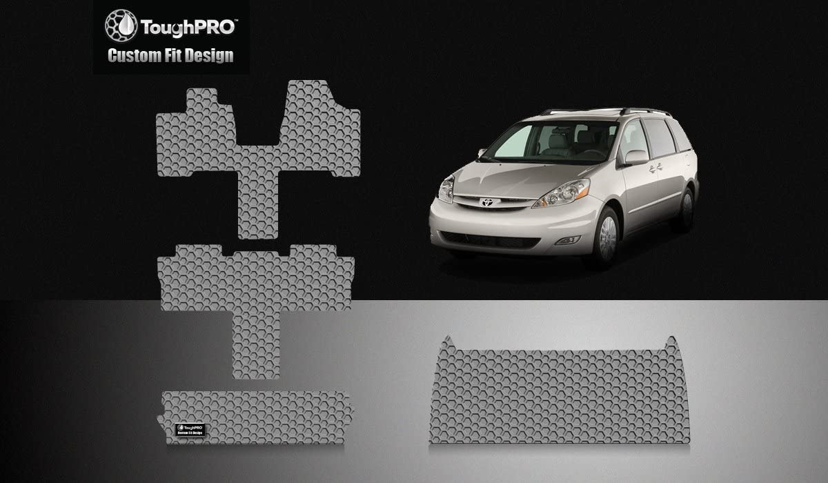 ToughPRO Floor Mats Full Set + Storage Compatible with Toyota Sienna (7 Seater) - All Weather - Heavy Duty - (Made in USA) - Gray Rubber - 2004, 2005, 2006, 2007, 2008, 2009, 2010
