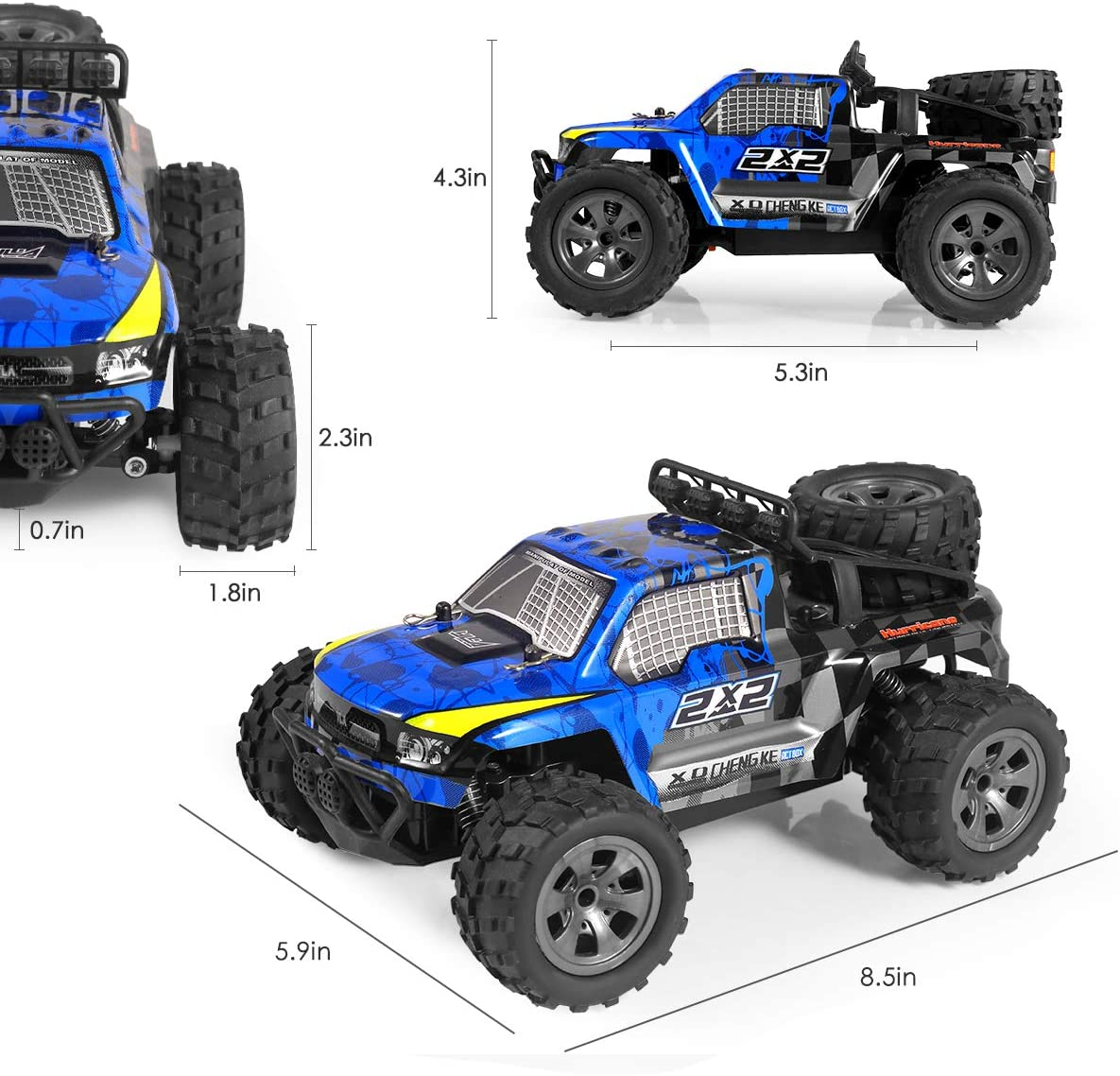 2.4Ghz 4WD Off Road Rock Crawler Vehicle 1:18 All Terrain Rechargeable Electric Toy for Boys /& Girls Gifts Remote Control Car Off Road Truck RC Car