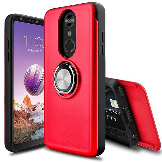 LEAPTECH LG Stylo 4 Case, LG Stylo 4 Plus Case, [Slider Card Slot] 360  Degree Rotating Ring Holder Shockproof Protection Phone Case Cover for LG