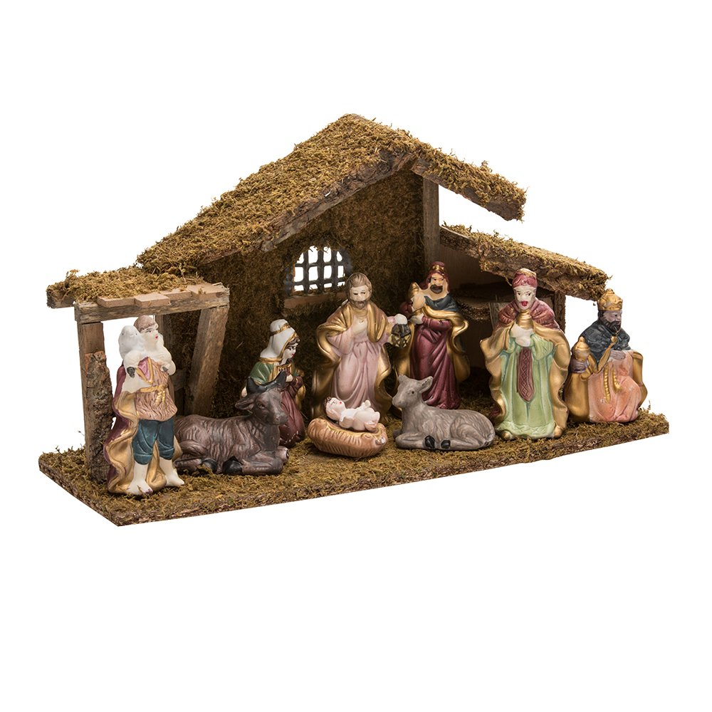 Kurt Adler 1.57-Inch - 4.3-Inch Nativity Set with Figures and Stable