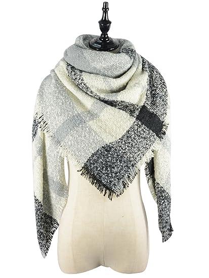 American Trends Women s Fall Winter Scarf Classic Tassel Plaid Scarf Warm  Soft Chunky Large Blanket Wrap dd00577e1