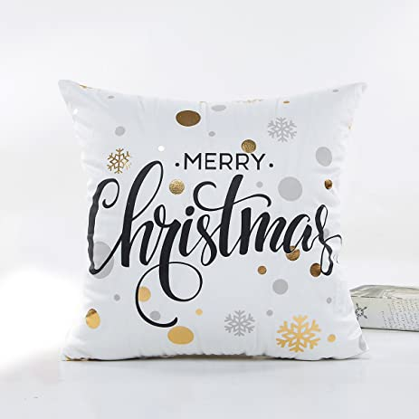 christmas throw pillow cover 18 x 18 inches snow square cushion case decorative pillowcase home decor
