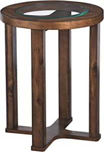Signature Design by Ashley - Hannery Glass Top Round End Table, Brown