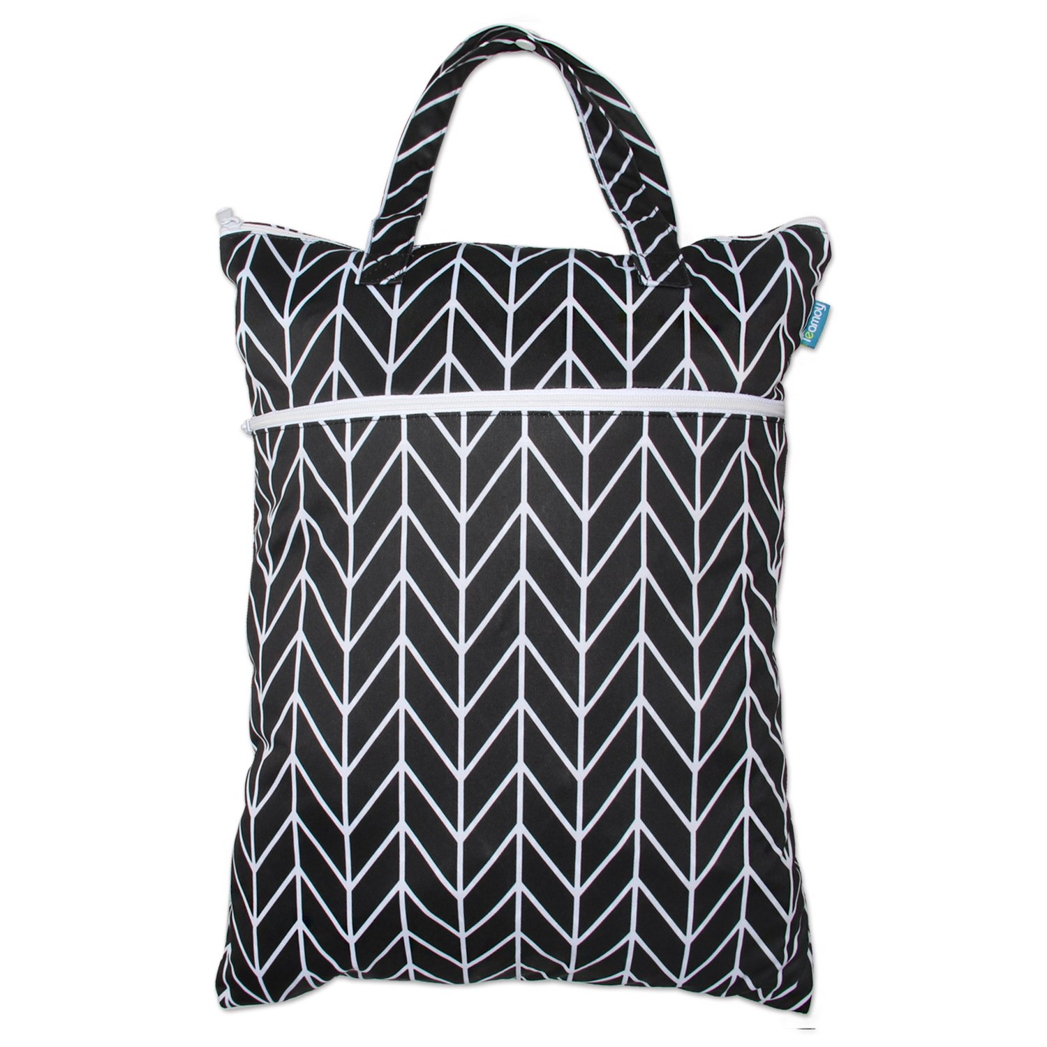 L, Black Strips Laundry Easy to Hang Everywhere 24.7 x 18 inches Teamoy Travel Hanging Wet Dry Bag Organizer with Two Compartments for Cloth Diaper Swimsuits and More