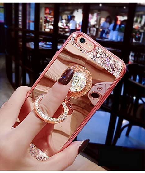 EMAXELERS iPhone 7+ Case iPhone 8+ Case Glitter Bling Diamond Glitter Mirror Makeup Silicone