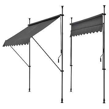 Super pro.tec] Klemmmarkise - Grau - 300 x 120 x 200-300cm - Markise US97