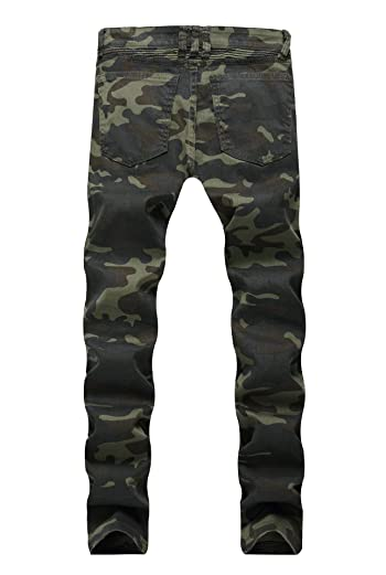 Men's Premium Camouflage Straight Fit Biker Zipped Workwear Jeans Pants