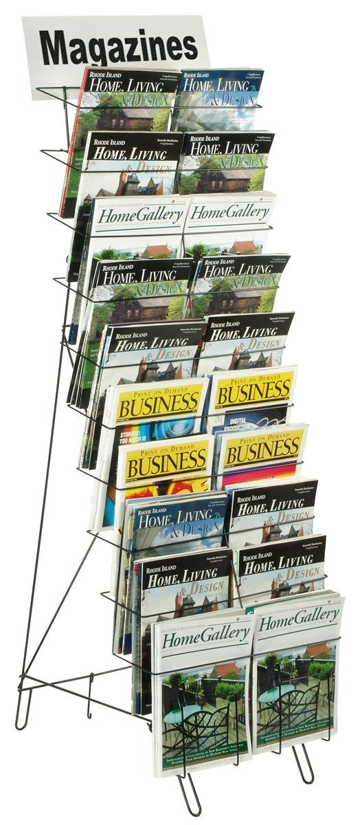 Displays2go Floor-Standing Wire Literature Rack with 20 Tiered Pockets, Removable Dividers - Black (WRF10T17)