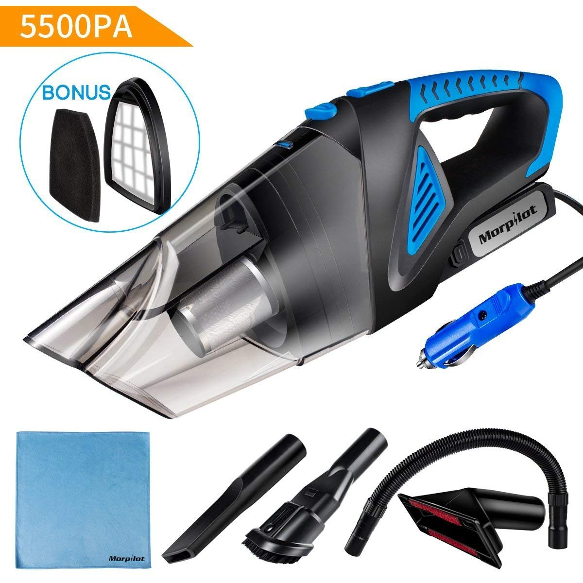 Car Vacuum Cleaner High Power,Morpilot 5500Pa DC 12V 120W Portable Handheld Auto Vacuum Cleaner Auto Lightweight Cleaner Hand VAC with Stainless Steel HEPA Filter