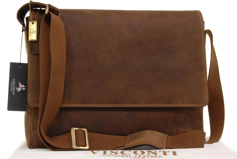 Visconti East/West-Umhängetasche A4/15-Zoll-Laptoptasche - Öl Braun Leder (18516) Größe: B: B: 36 cm, H: 28 cm, T: 9 cm