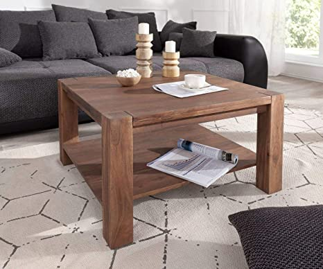 Delife Indra Living Room Table 80 X 80 Cm Acacia Brown Solid Wood Coffee Table Amazon De Kuche Haushalt