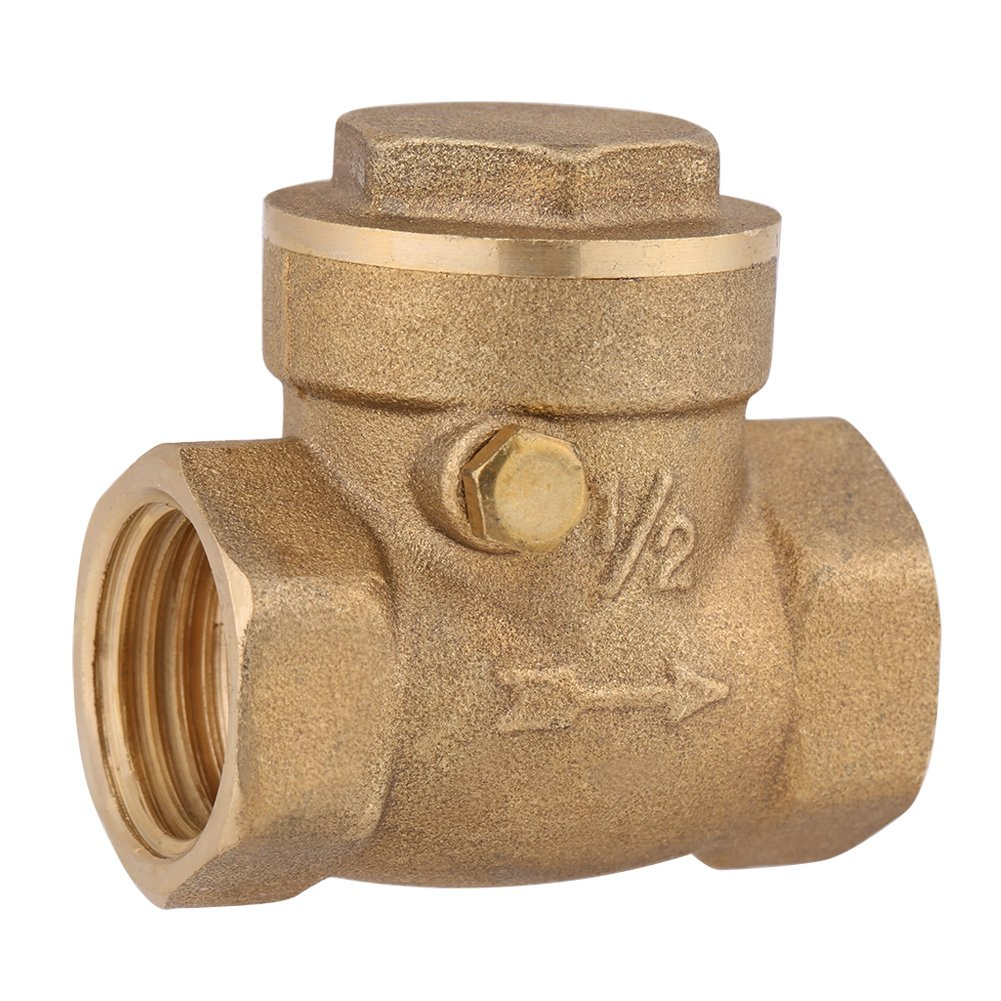 1PC DN15 1/2' BSP Brass Female Thread Non-Return Swing Check One-Way Valve Horizontal 232PSI Prevent Water Backflow Zerone