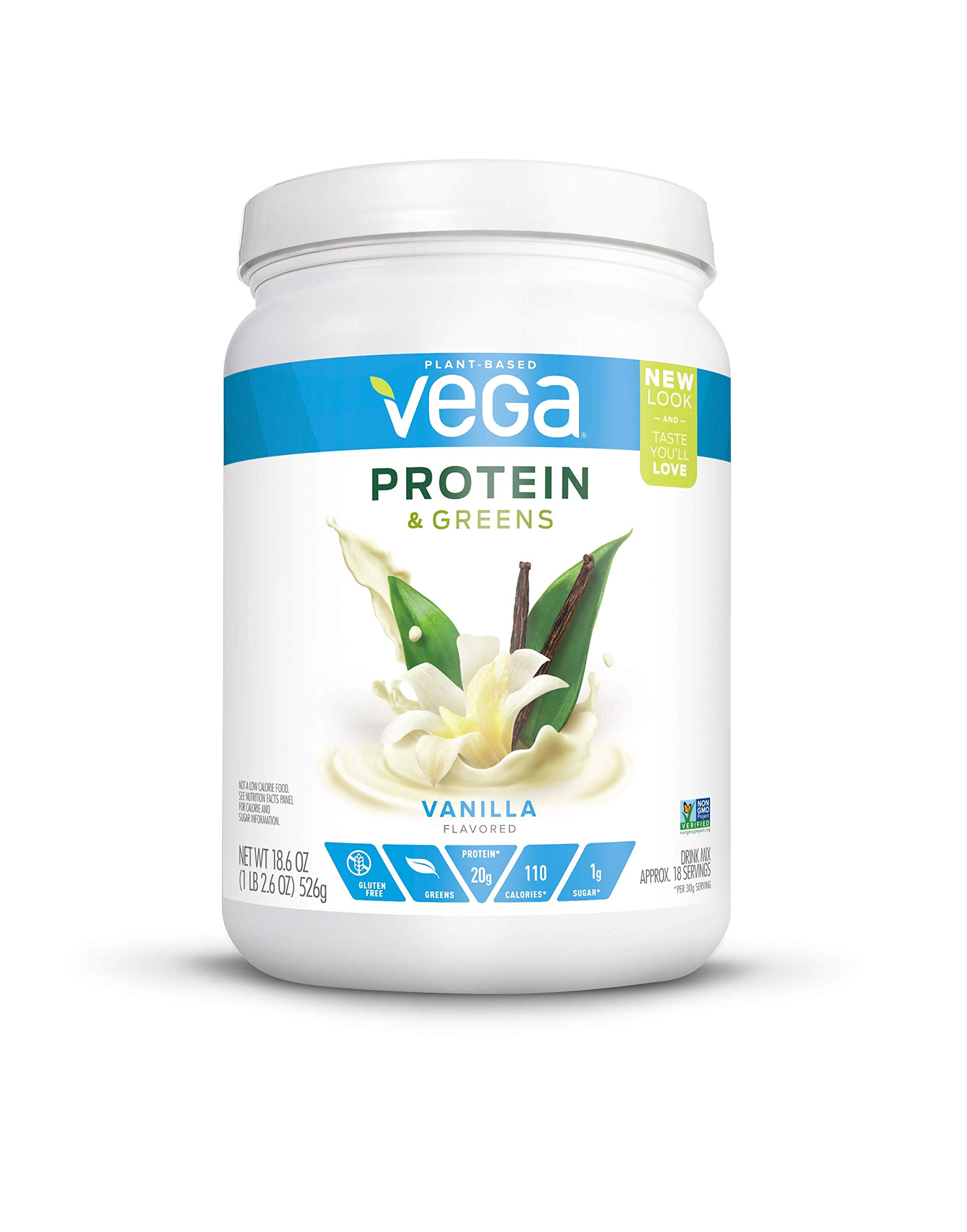 Vega Protein & Greens Vanilla (18 Servings, 18.6 Ounce) - Plant Based Protein Powder, Keto-Friendly, Gluten Free,  Non Dairy, Vegan, Non Soy, Non GMO - (Packaging may vary) by VEGA