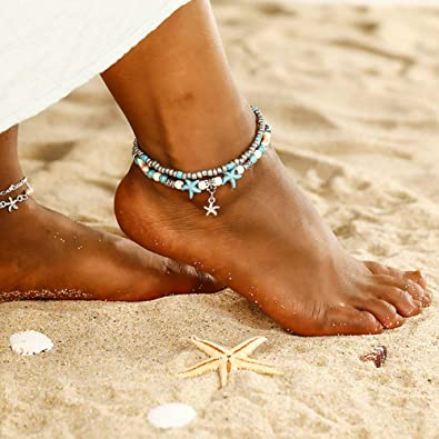 Boho Turtle Anklet Starfish Multilayer Charm Anklet Handmade Adjustable Beach Foot Chain Anklets for Women