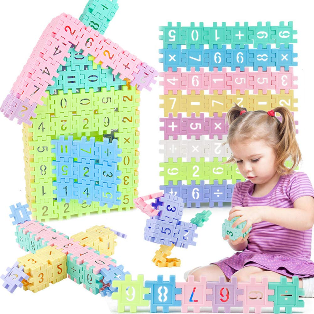 Kids Fun Learning Educational Toys Basic Math Arithmetic Stacking Building Toys for 3-8 Year Old Boys Girls Preschool Montessori Toy 110pcs Construction /& Mathematical 2 In 1 with Storage Box IBLUELOVER