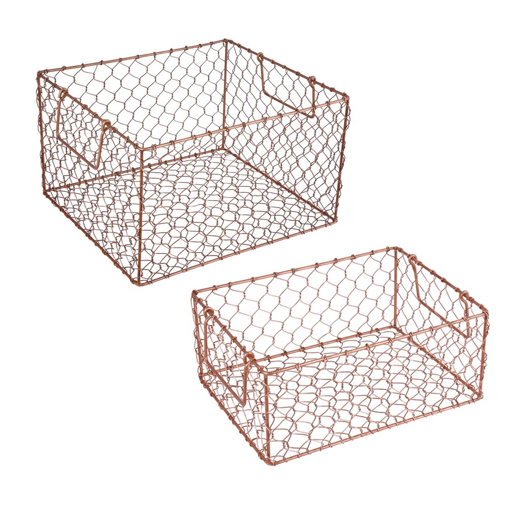 Assorted Set of 2 Handwoven Copper Finish Chicken Wire Storage Baskets - Unique Industrial/Rustic Style Home Storage Solution Perfect for Modern Contemporary Homes! Ideal Gift Idea for Valentines Day, Housewarming or 7th Anniversary Present! Dibor
