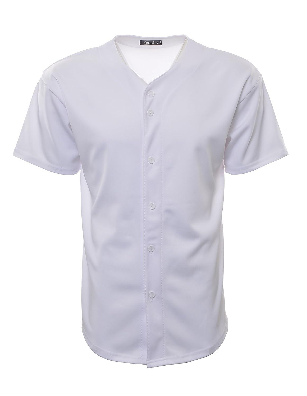 YoungLA Baseball Jersey T-Shirts Plain Button Down Sports Tee (All White, X-Large)