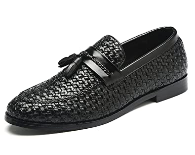 Santimon Loafers Men Fashion Woven Dress Driving Flats Slip on Moccasins Casual  Shoes Black 5 D 07a3ac65a4d7