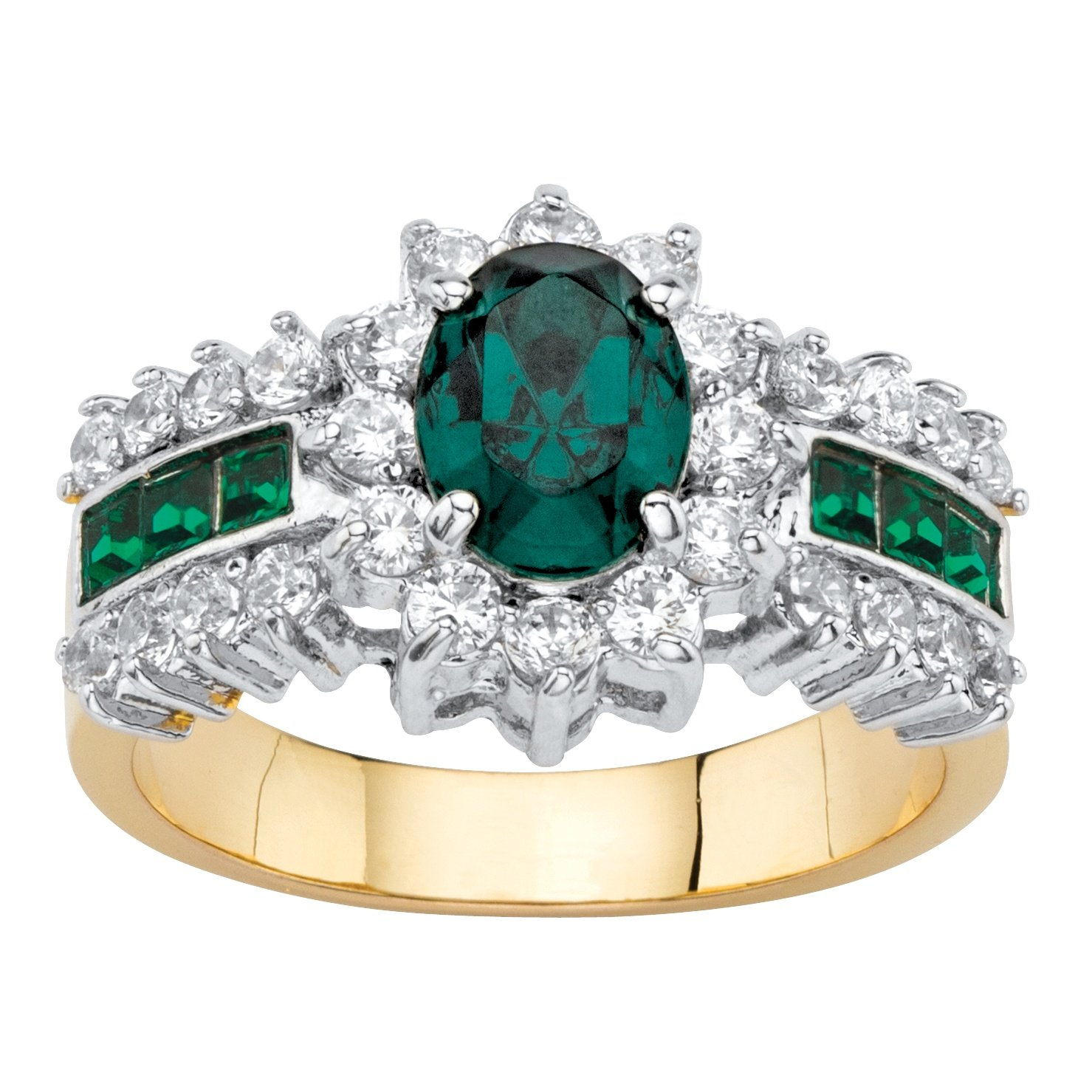Palm Beach Jewelry Oval-Cut Green Simulated Crystal and CZ 14k Gold-Plated Halo Cocktail Ring Size 8