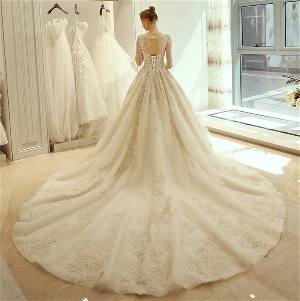 Amazon.com: ELEGENCE-Z Thin Long-Sleeved Wedding Dress Palace Dream White White Veil Dinner Dress,M: Sports & Outdoors