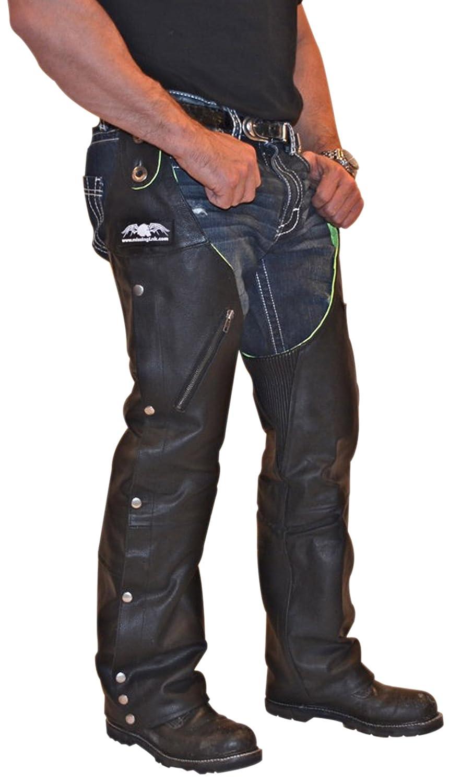 Missing Link RHCLGS Leather/Nylon Reversible Hook Chaps (Black/HiViz Green, Small)