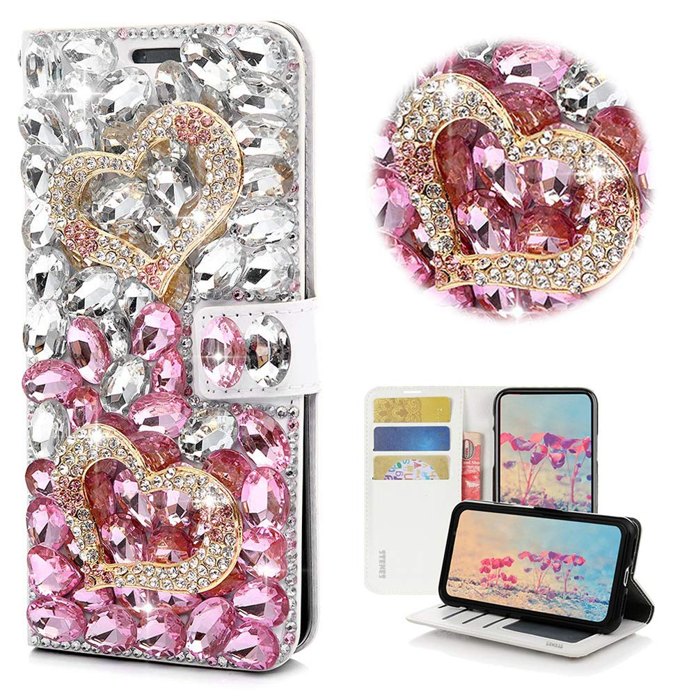 STENES Bling Wallet Case Compatible with iPhone 6 Plus/iPhone 6S Plus - STYLISH - 3D Handmade Crystal Heart Magnetic Wallet Design Leather Cover Case - Pink