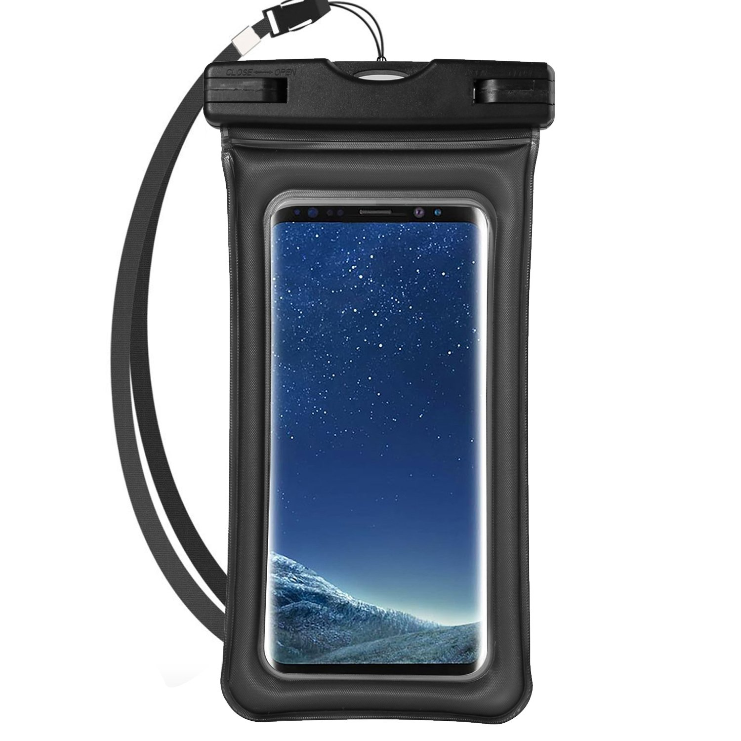 Universal Airbag Cellphone Waterproof Dry Bag Pouch w/Armband & Lanyard for Samsung Galaxy S9+ S9 S8+ S8/Note 8/A5 A7 A8 J5 J7/Nokia 7 Plus 5 6 8/HTC Desire 12/U11 EYEs/U11+ (Black)