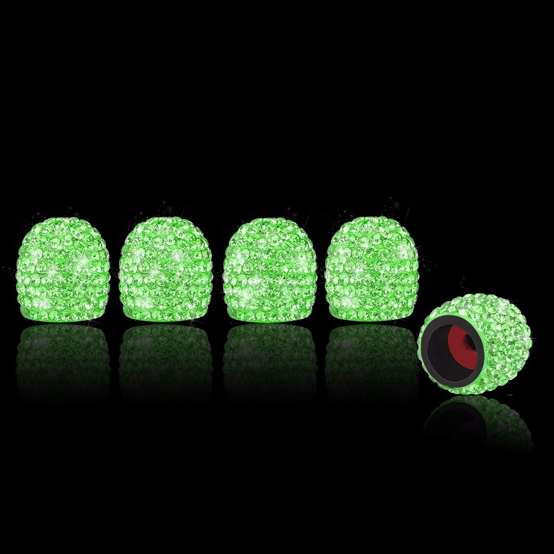 SENZEAL 5x Car Valve Caps ABS Bling Diamond Dust Cap Bullet Tyre Valve Cover Green