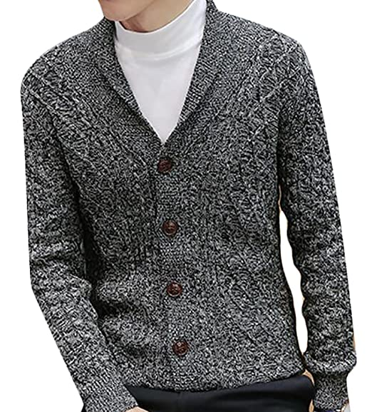 Generic Mens Slim Fit Cable Knit Quarter Zip Long Sleeve Pullover Sweater