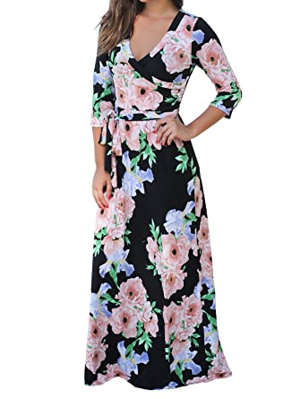 6d8ba28f4b Ferbia Womens Boho Floral Print 3 4 Sleeve V Neck Tie Waist Vintage Wrap Maxi  Dress at Amazon Women s Clothing store