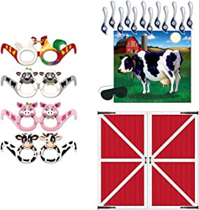 Pin The Tail on The Cow Game Barn Door Prop Farm Animal Glasses 14 Piece Bundle