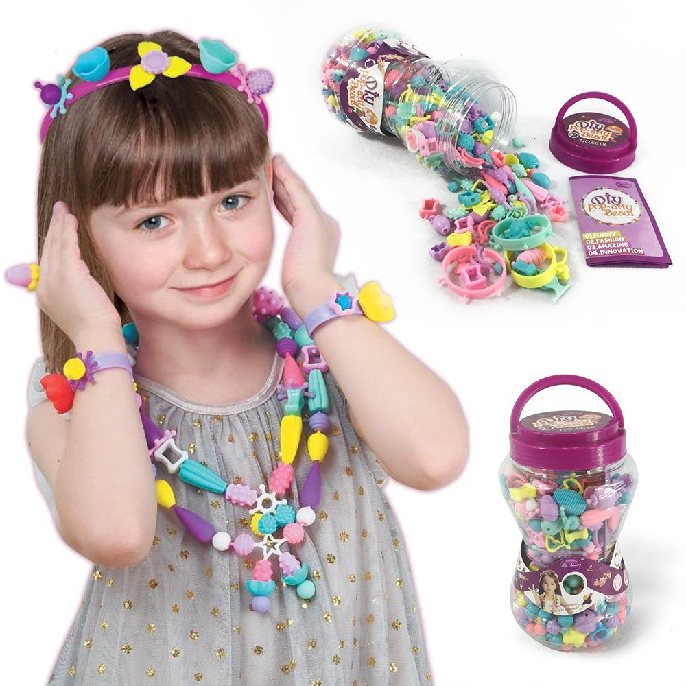 XinBooming 420PCS Kids Snap Beads Set - Creative DIY Jewelry Making Kit for Girls Necklace and Bracelet