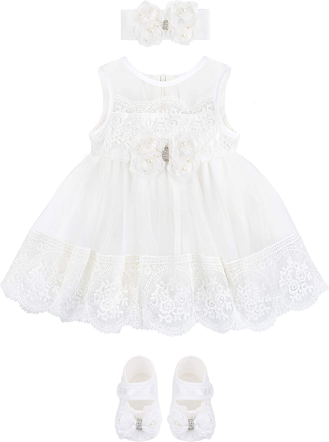 Taffy Baby Girl Christening Baptism Embroidered Dress Gown 6 Piece Deluxe Set 0-3 Months, White