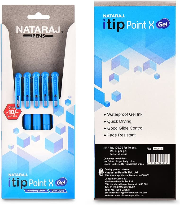 Nataraj Itip Point X Gel Pens – Pack of 10 at Rs.90