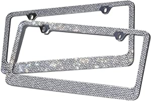 Motorup America Diamond Bling License Plate Frame (Pack of 2) Best for Front & Rear - Auto Accessories Fits Select Vehicles Car Truck Van SUV Bumper Cover - Sparkly Glitter Rhinestone Cute Tag Holder