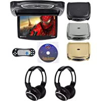 "Rockville RVD14BGB Black/Grey/Tan 14"" Flip Down DVD Monitor w/ Games and Headphones"