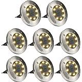 GIGALUMI - Juego de 8 luces solares para el piso, 8 luces LED solares de disco para exteriores, resistentes al agua…