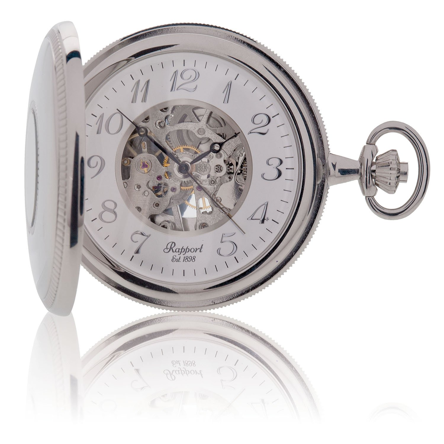 Oxford Half Hunter Pocket Watch with Arabic Numerals Skeleton Dial - Silver