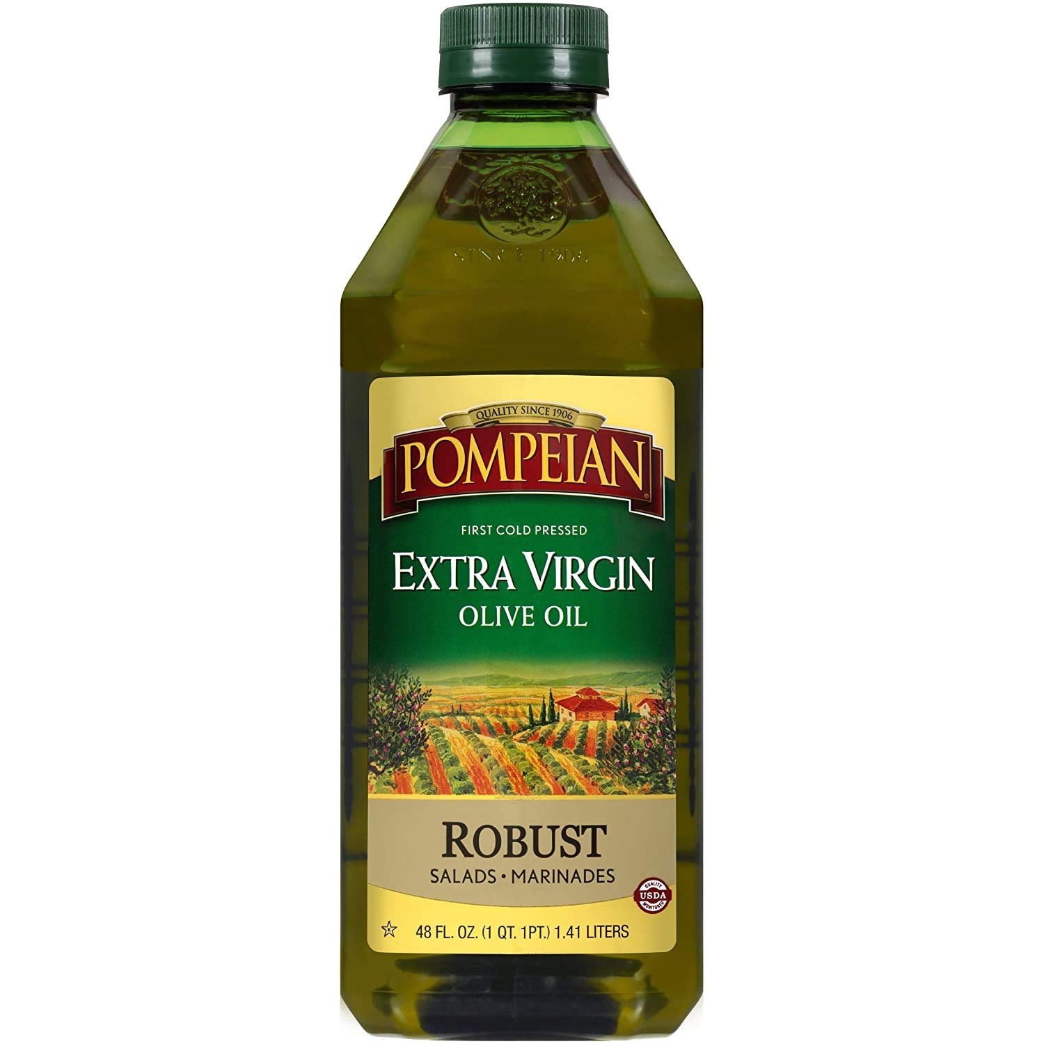 Pompeian Robust Extra Virgin Olive Oil, First Cold Pressed, Full-Bodied Flavor, Perfect for Salad Dressings & Marinades, 48 FL. OZ.