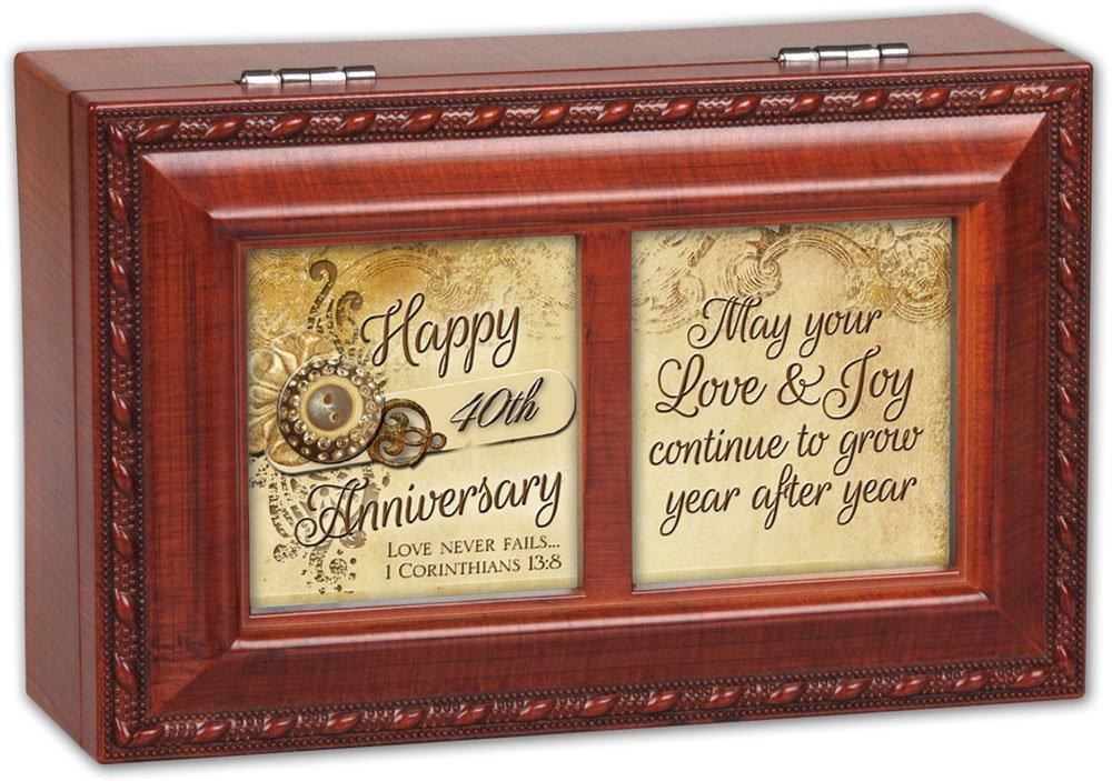 Cottage Garden Happy 40Th Anniversary Woodgrain Petite Music Box/Jewelry Box Plays Amazing Grace