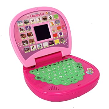 iChoice Educational Learning Laptop with LED Display for Kids, 123 Number and Alphabet ABC Learning Laptop for Kids (Laptop Pink)