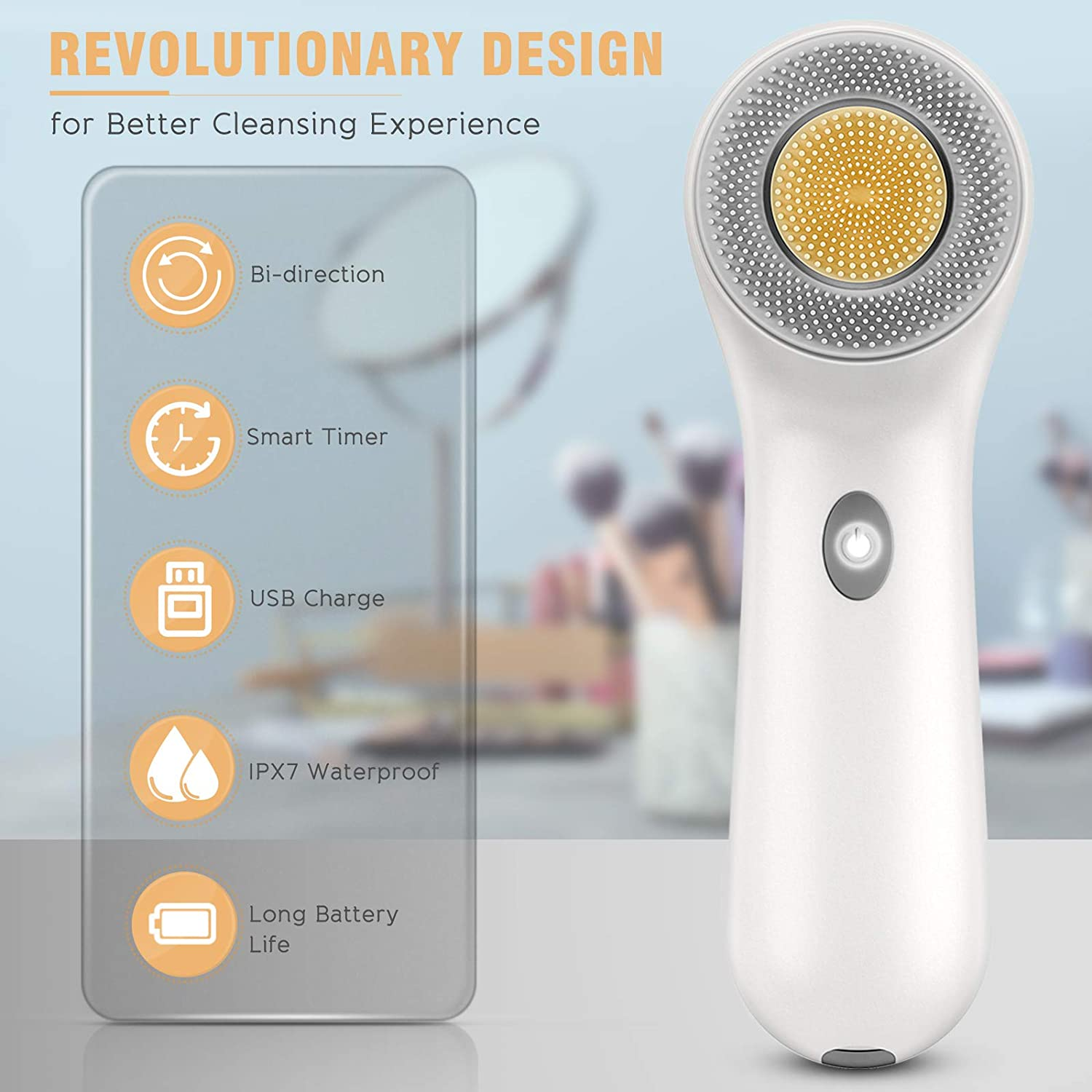 Face Scrub Brush, Rechargeable Face Spin Wash Brush with 3 Heads for Cleaning Massaging (White)